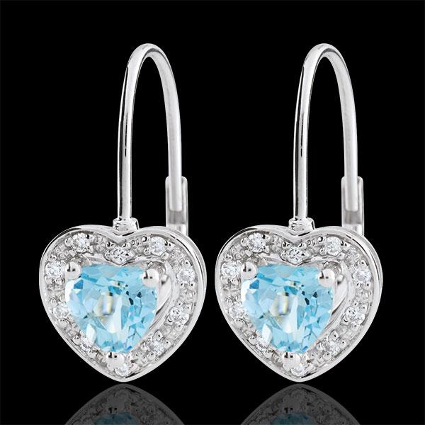 Boucles d'oreilles Coeur Enchantement - topaze bleue - or blanc 9 carats