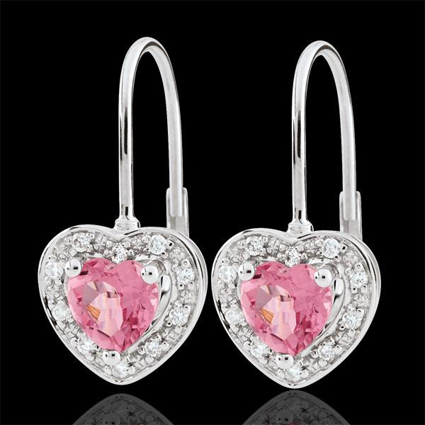 Boucles d'oreilles Coeur Enchantement - topaze rose - or blanc 18 carats