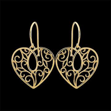 Boucles d'oreilles Coeur arabesques - or jaune 9 carats
