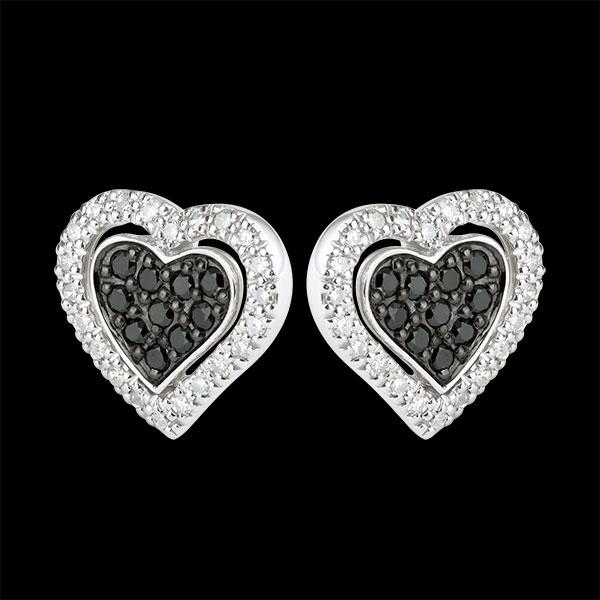 Boucles d'oreilles Coeur Mega - or blanc 9 carats