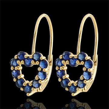 Boucles d'oreilles Coeur Rosie - saphirs - or jaune 9 carats