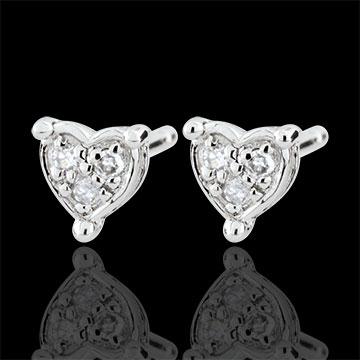Boucles d'oreilles Coeurs Romy - or blanc 9 carats