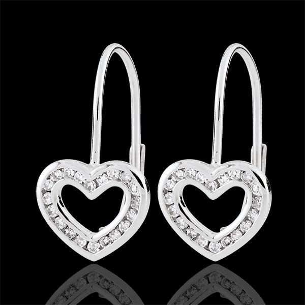 Boucles d'oreilles Coeurs Téa - 40 diamants - or blanc 9 carats