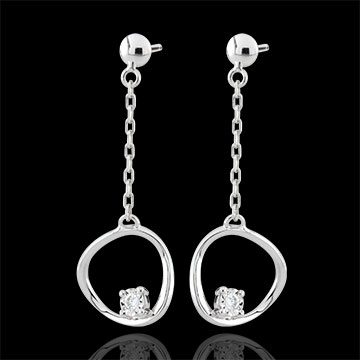 Boucles d'oreilles Cosmo - or blanc 9 carats
