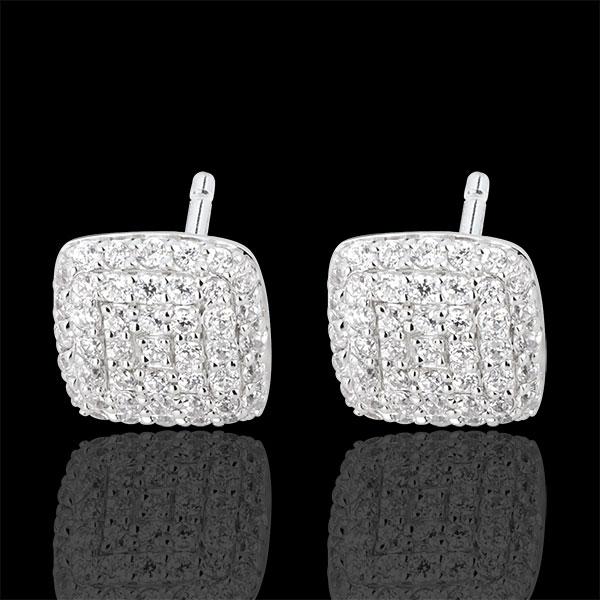 Boucles d'oreilles Coussins diamants or blanc 18 carats