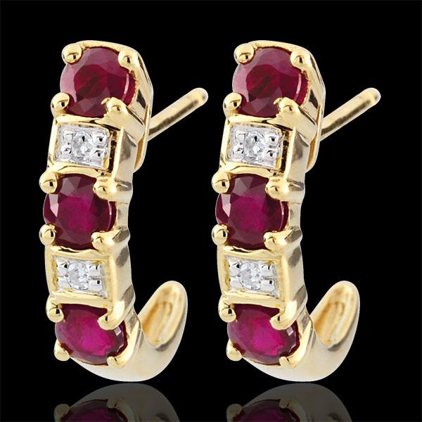Boucles d'oreilles créoles Clarisse - rubis - or jaune 9 carats