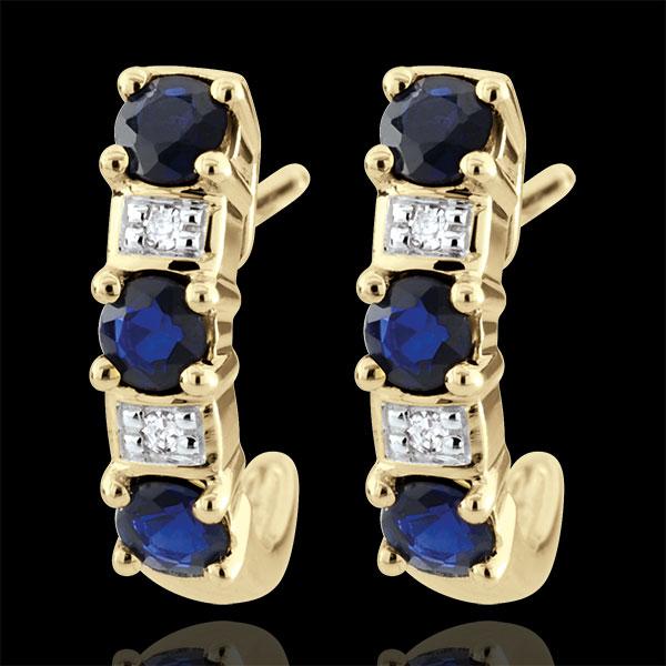 Boucles d'oreilles créoles Clarisse - saphirs or jaune 9 carats