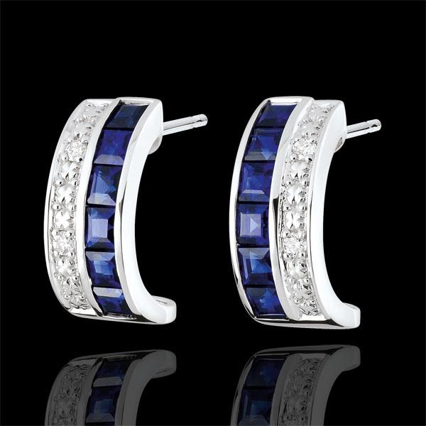 Boucles d'oreilles créoles Constellation - Zodiaque - saphirs bleus et diamants - or blanc 9 carats