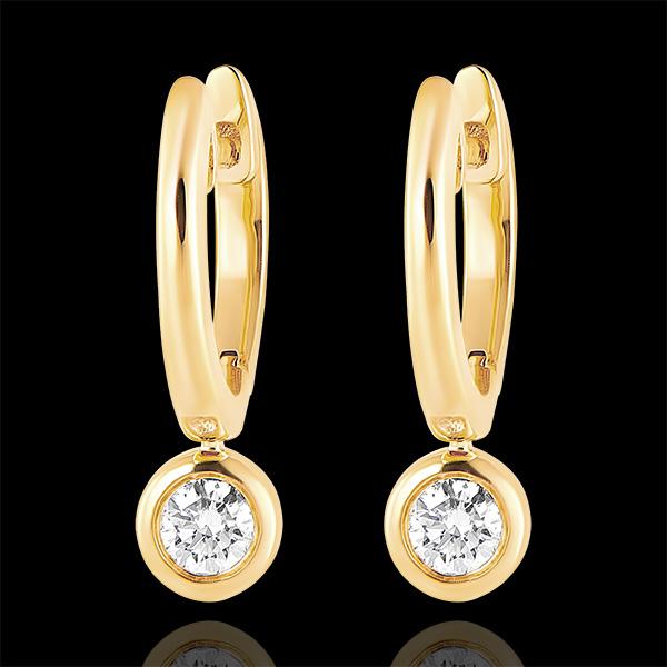 Boucles d'oreilles Créoles Fraîcheur - Éléa - or jaune 9 carats et diamants