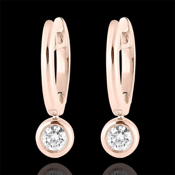 Boucles d'oreilles Créoles Fraîcheur - Éléa - or rose 9 carats et diamants