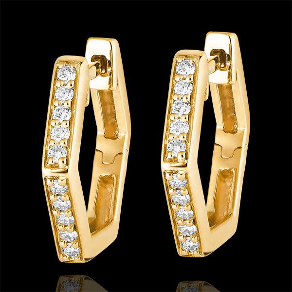 Boucles d'oreilles créoles Fraîcheur - Hexagonia - or jaune 9 carats et diamants