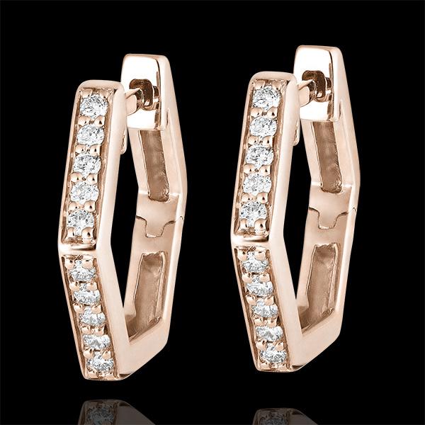 Boucles d'oreilles créoles Fraîcheur - Hexagonia - or rose 18 carats et diamants