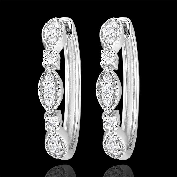Boucles d'oreilles Créoles Fraîcheur - Petites Pampilles - or blanc 9 carats et diamants