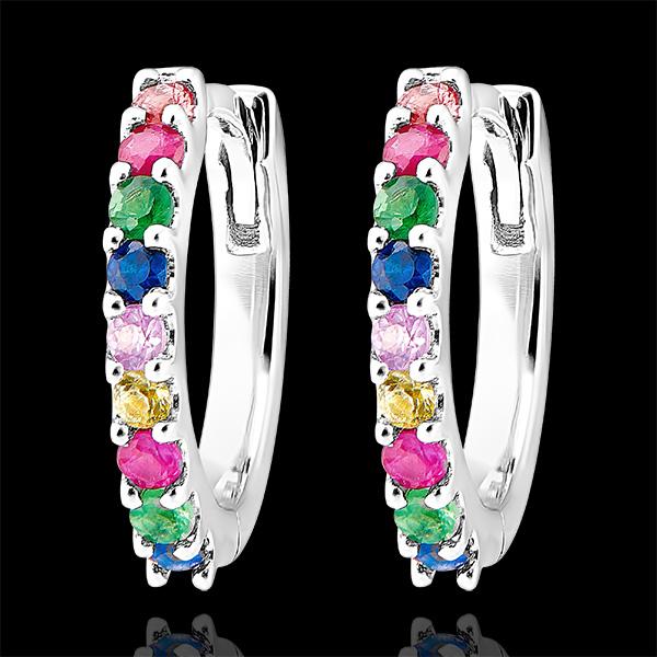 Boucles d'oreilles créoles Fraîcheur - Rainbow - or blanc 9 carats