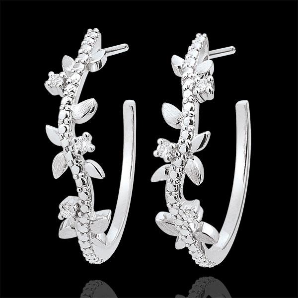 Boucles d'oreilles créoles Jardin Enchanté - Feuillage Royal - or blanc 9 carats et diamants