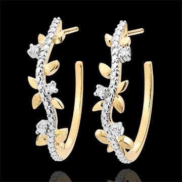 Boucles d'oreilles créoles Jardin Enchanté - Feuillage Royal - or jaune 9 carats et diamants