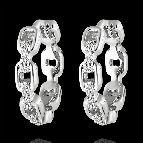 Boucles d'oreilles Créoles Regard d'Orient - Maillon Cubain - or blanc 18 carats et diamants