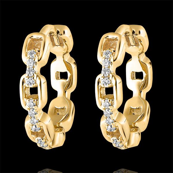 Boucles d'oreilles Créoles Regard d'Orient - Maillon Cubain - or jaune 18 carats et diamants