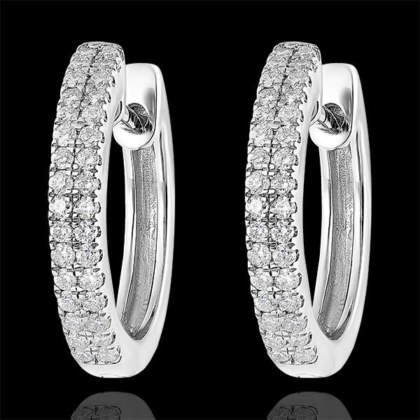 Boucles d'oreilles Créoles semi-pavées Fraîcheur - Céleste - or blanc 9 carats et diamants