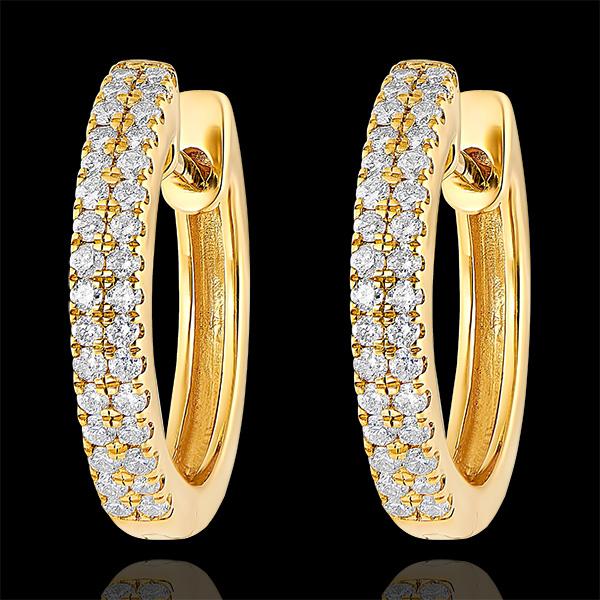 Boucles d'oreilles Créoles semi-pavées Fraîcheur - Céleste - or jaune 9 carats et diamants