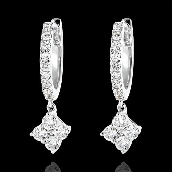 Boucles d'oreilles Créoles semi-pavées Fraîcheur - Dina - or blanc 9 carats et diamants