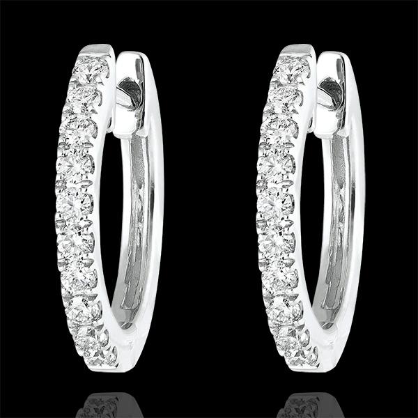 Boucles d'oreilles Créoles semi-pavées Fraîcheur - Éva - or blanc 9 carats et diamants