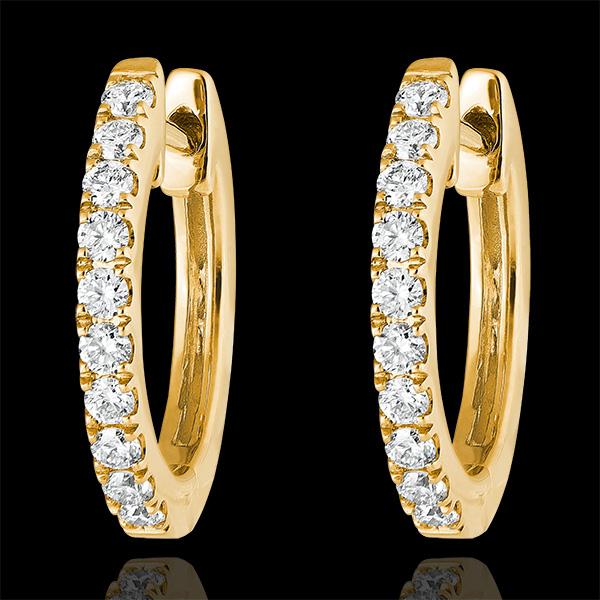 Boucles d'oreilles Créoles semi-pavées Fraîcheur - Éva - or jaune 9 carats et diamants