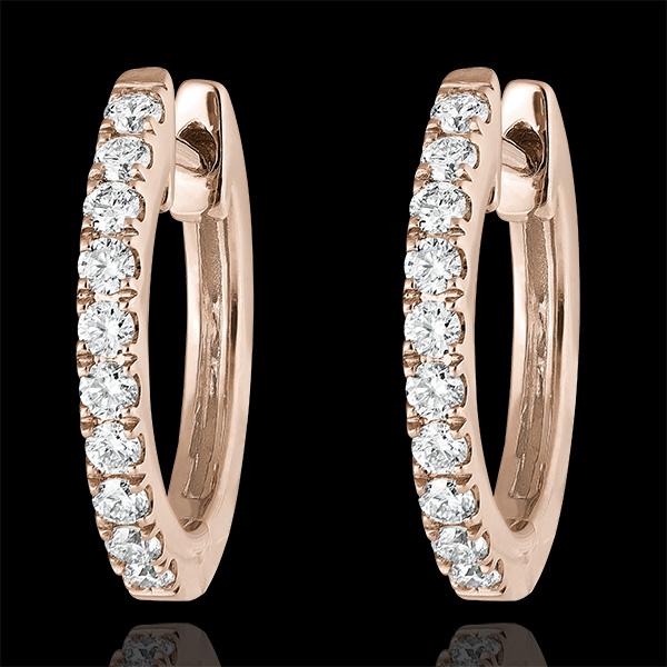 Boucles d'oreilles Créoles semi-pavées Fraîcheur - Éva - or rose 9 carats et diamants