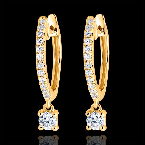 Boucles d'oreilles Créoles semi-pavées Fraîcheur - Petite Pampille - or jaune 9 carats et diamants