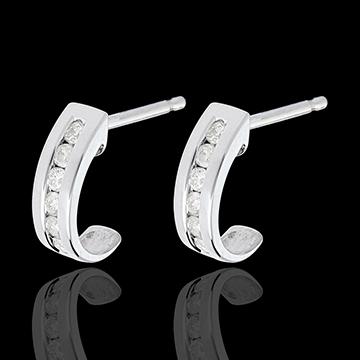Boucles d'oreilles Demi-Lunes pavées - 12 diamants 0.22 carats - or blanc 18 carats