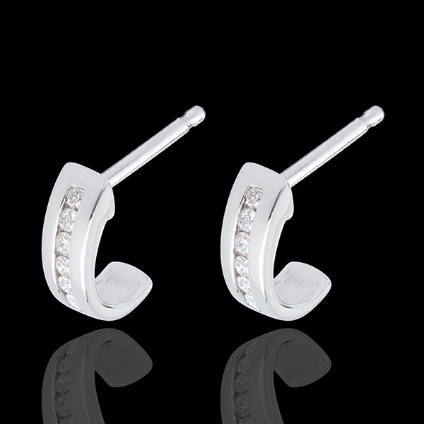 boucles d'oreilles demi-lunes pavées - or blanc 18 carats - 12 diamants