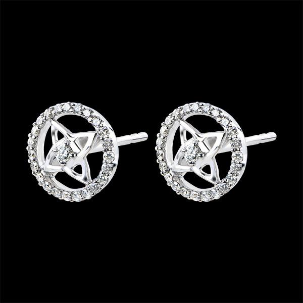 Boucles d'Oreilles Destinée - or blanc 9 carats et diamants