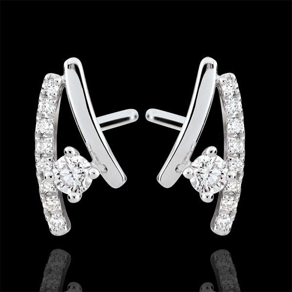 Boucles d'oreilles diamants Erina - or blanc 9 carats