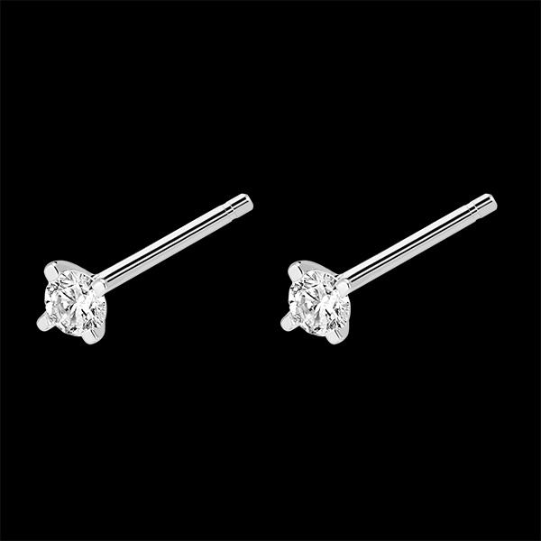 Boucles d'oreilles diamants Fraîcheur - Éclat - puces or blanc 9 carats et diamants
