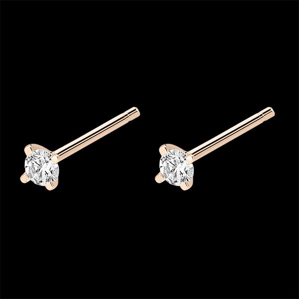 Boucles d'oreilles diamants Fraîcheur - Éclat - puces or rose 18 carats et diamants