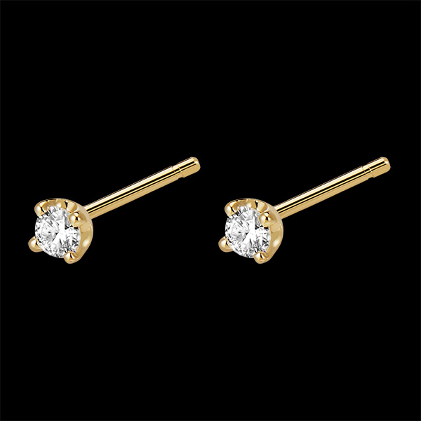 Boucles d'oreilles diamants - puces or jaune 18 carats 0.15 carat