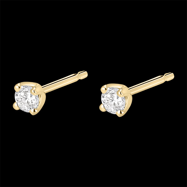 Boucles d'oreilles diamants - puces or jaune 18 carats 0.2 carat