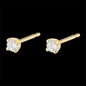Boucles d'oreilles diamants - puces or jaune 18 carats 0.2 carat