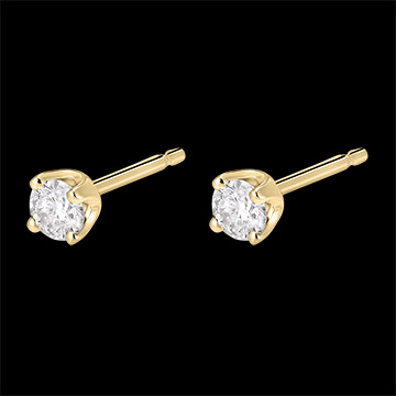 Boucles d'oreilles diamants - puces or jaune 18 carats - 0.3 carat