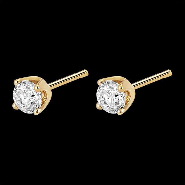 Boucles d'oreilles diamants (TGM+) - puces or jaune 18 carats - 0.5 carat