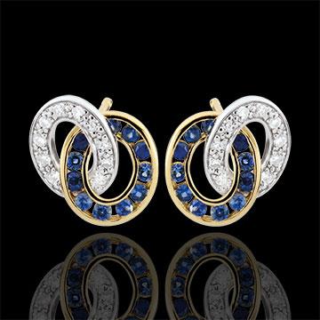 Boucles d'oreilles Duorama - saphirs et diamants - or blanc et or jaune 9 carats