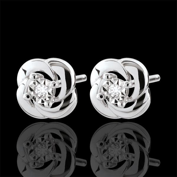Boucles d'oreilles Eclosion - Camélia - or blanc 9 carats