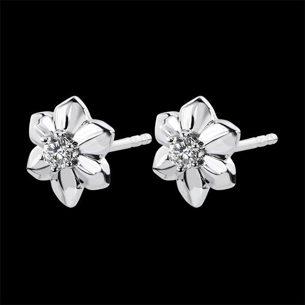 Boucles d'Oreilles Éclosion - Dalhia - or blanc 9 carats et diamant