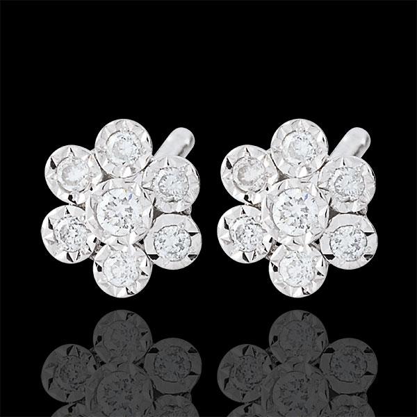 Boucles d'oreilles Éclosion - Fleur de Flocon variation - or blanc 9 carats
