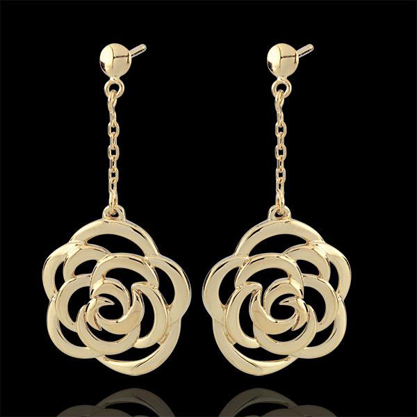 Boucles d'oreilles Éclosion - Fleurs Couture - pendantes - or jaune 9 carats