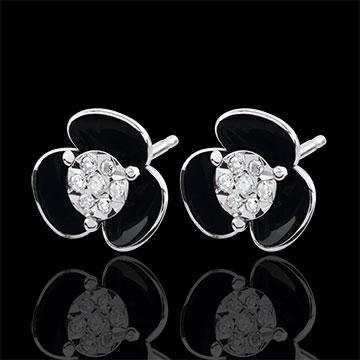 Boucles d'oreilles Éclosion - Fleurs de minuit - or blanc 9 carats et laque