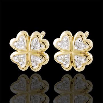 Boucles d'oreilles Éclosion - Ma chance - diamants - or blanc et or jaune 9 carats
