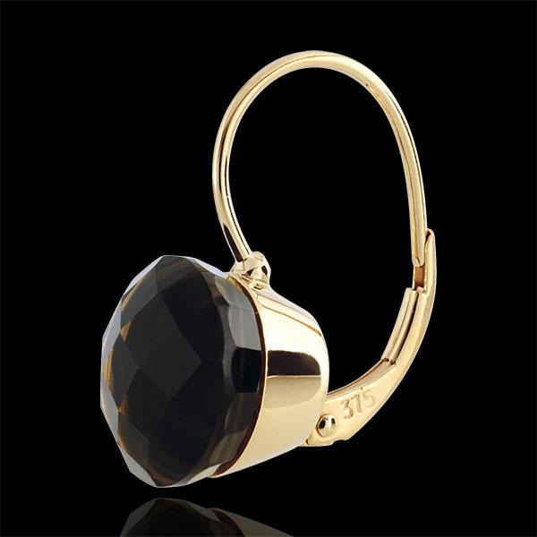 Boucles d'oreilles Emma - quartz fumé - or jaune 9 carats