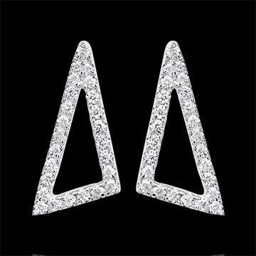Boucles d'oreilles Equerre astrale - or blanc 9 carats et diamants
