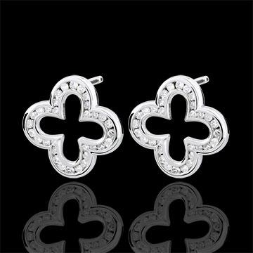 Boucles d'oreilles Erita - 64 diamants - or blanc 9 carats